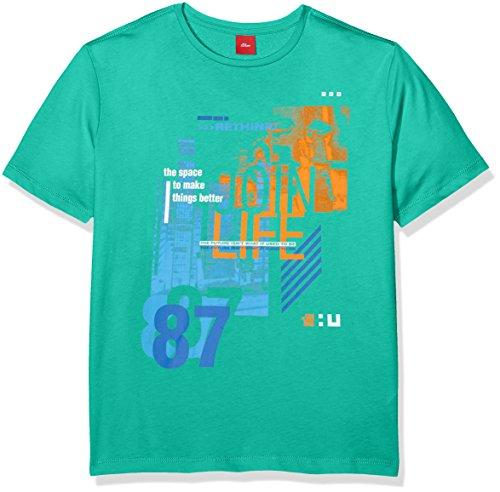 s.Oliver Jungen T-Shirt 61.802.32.6077, Grün (Green Melange 73W2), 152 (Herstellergröße: M/reg)
