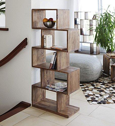 Legno Dekor 5 Holo zigzag libreria, Sheesham Natural, 60x30x150 Cms