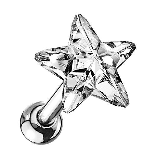 Piersando Tragus Helix Ohr Piercing Cartilage Knorpel Stab Stecker 316 L Chirurgenstahl mit Stern Kristall Silber Clear