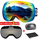 ChantPower Ski Goggles - 2 Lenses Included, Frameless Magnetic Snowboard Goggles - 2 Seconds Quick Interchangeable Spherical Lenses, OTG Imported Double-Layer Anti-Fog Lens