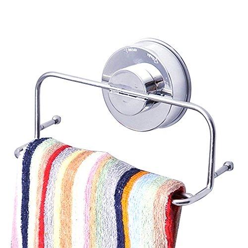 Leistungsstark Vakuum Saugnapf Handtuch Ring Rack SUS 304Edelstahl ohne Bohren Wandhalterung Handtuch Organizer Regal Halterung für Badezimmer & Küche Aufbewahrung–Chrom (Spa Nagel-trockner)