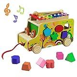 Bus de Formes à Tirer Et à Empile en Bois avec Animaux Blocs Jouet Xylophone Juex à Tirer pour Enfants Garçon Fille