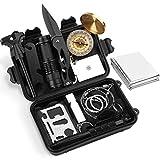 Yissvic Survival Kit, 13 in 1 Emergency Survival Kit Außen Survival Set mit Klappmesser, Feuerstarter, Kompass, Taschenlampe, Rettungsdecken usw. für Reisen Outdoor Camping Wandern