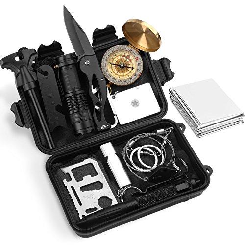 Yissvic Emergency Survival Kit Außen Survival Set Notfall Selbsthilfe Set Werkzeuge Box für Reisen Outdoor Camping Wandern (Verpackung MEHRWEG)