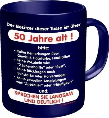 Fun Tee Tasse - Der Besitzer dieser Tasse ist über 50 Jahre alt! Sprechen sie langsam und deutlich! - einzeln im Geschenk Karton - zum Geburtstag (Über T-shirt Motorräder)
