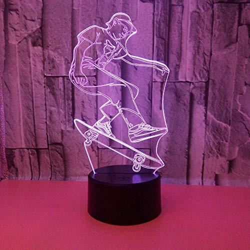 L2eD 3D Illusion Lampe Led Nachtlicht Usb/Batteries Tischlampe 7 Farben Berührungsschalter Acryl & USB Basis & Kind Skateboard
