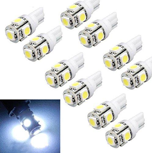 Sannysis 10 pc T10 Wedge 5-SMD 5050 Bombillas Xenon LED Blanco