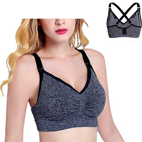 Ellames Damen Still-BH Schwangerschaft Still BHs ohne Bügel nahtlose Unterwäsche 2-Pack(Rosa+Dunkles grau)