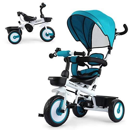 Fascol Dreirad 4 in 1 Dreirad Kinderdreirad Kinder Tricycle mit Klappbarer Fußstütze, Sonnendach und Einstellbare Schubstange ab 12 Monate bis 5 Jahre Blau
