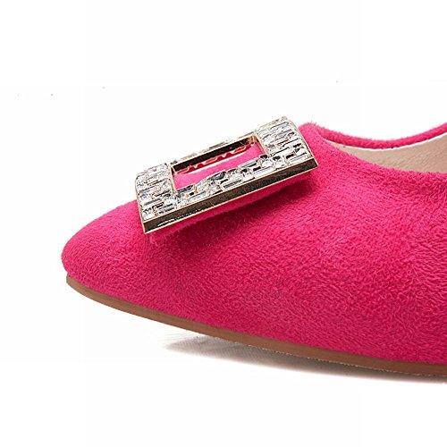 Mee Shoes Damen Stiletto Nubuck mit Strass Pumps Rosarot