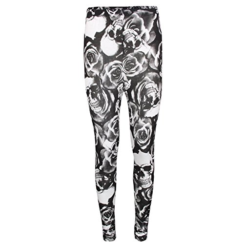 opf Streifen Animal Planet Buchstabe Print Multi Full Leggings Größe 8 10 12 14 Gr. Medium, Skull Rose ()