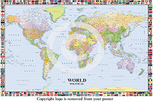 World Political Map Of The World With Flags PAPER POSTER Measures 36 on