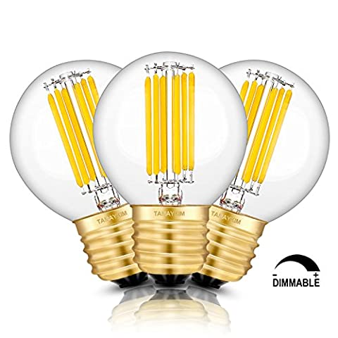 TAMAYKIM 6W Dimmable Edison Style Antique LED Filament Globe Light Bulb, 3000K Soft White 600LM, E27 Base Lamp, G50 Clear Glass Cover, 60W Incandescent Equivalent, 3 Pack