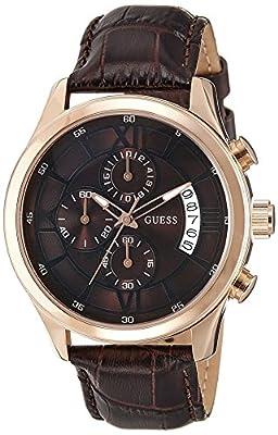 Reloj Guess Capitol W14052G2 de cuarzo para hombre, correa de cuero color marrón (cronómetro, agujas luminiscentes) de Guess