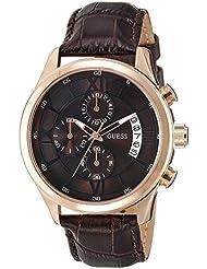 Guess Capitol W14052G2 - Reloj cronógrafo de cuarzo para hombre, correa de cuero color marrón (cronómetro, agujas luminiscentes)
