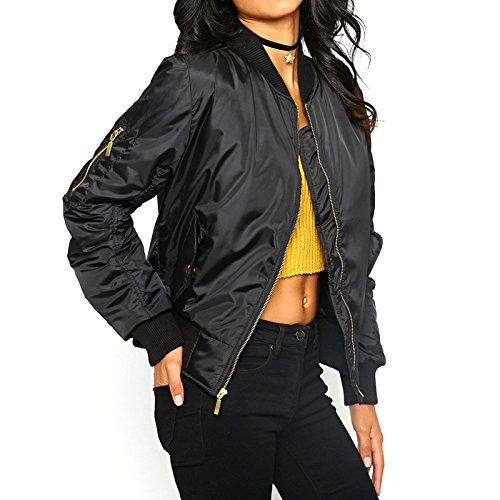 PARSA® Ladies Bomber Jacket Womens Ma1 Pockets Padded Pilot Coat Biker Top - Available in PLUS SIZES (Extra Small to XXL) (Large, Black)
