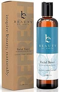 Beauty by Earth Gesichtstonic; 100% natürliche Bio-Qualität mit Hamamelis und Rosenwasser; perfekt hydrierendes und erfrischendes Spray für den praktischen Einsatz im Alltag; ohne Fett und ohne Alkoho