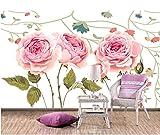 Keshj Hintergrund-Wand Der Modernen Haupthintergrund-Dekoration-3D Tapeten-Hand Gezeichneten Weinlese-Rose-120Cmx100Cm