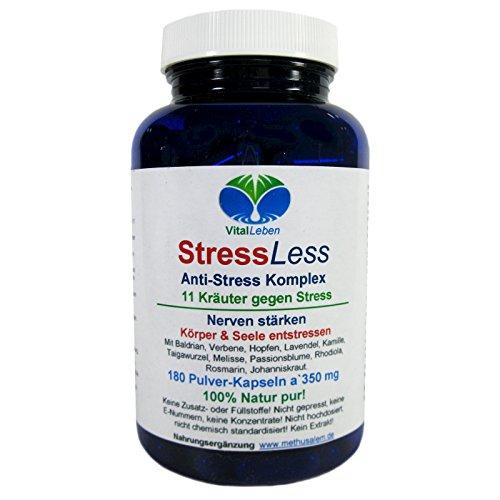 StressLess, Anti-Stress-Komplex, 11 Kräuter gegen Stress, 180 Pulver-Kapseln a 350mg, #25812