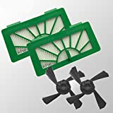 2 HEPA Allergie Filter und 2 Seitenbürsten passend für Neato XV11 XV12 XV15 XV21 XV25 XV Signature und Vorwerk Kobold VR 100