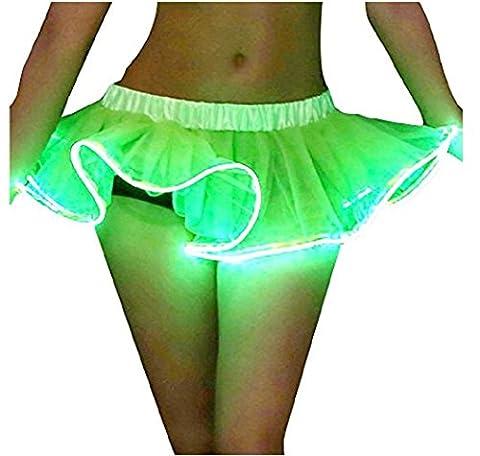 Damen Weihnachten Halloween Party eine Linie Ballett Tütü Mini Rock mit LED Party Kurz Glam Gothic Vintage Petticoat Rock Tanzkleid Ballett Licht Glam Gotik Tüll Tanz Rock (Einheitsgröße, Grün-1)
