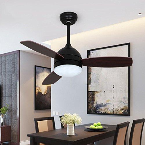 Amerikanischer Einfacher Deckenventilatorlicht 42 Zoll Stummer Schwarzer Stummer Ventilatorlampe Schlafzimmer Wohnzimmer LED Ventilator Leuchterfernbedienung (Glas-pendelleuchte-lampen-farbtöne)