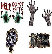 4Pcs Halloween Wall Door Sticker Set Horrible Wall Decal Window Decor Party Supplies Lifelike Creepy Sticker K