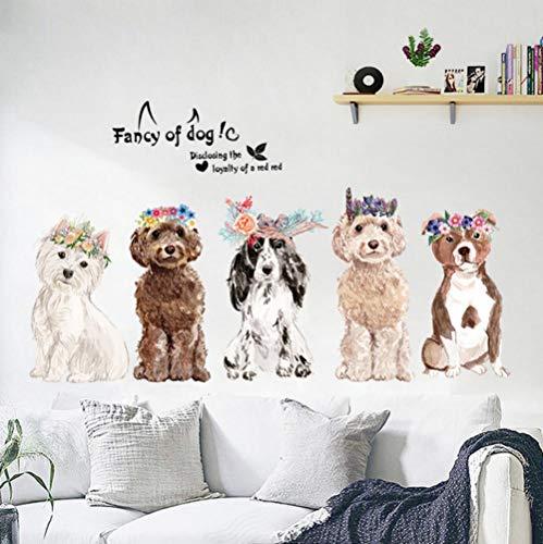 Lyiting Cartoon Tier Hunde Mit Einer Blume Kranz Wandaufkleber Phantasie Von Hund Kinderzimmer Wohnzimmer Mode Wohnkultur Diy Vinyl Aufkleber (Tür-kränze Diy Halloween)