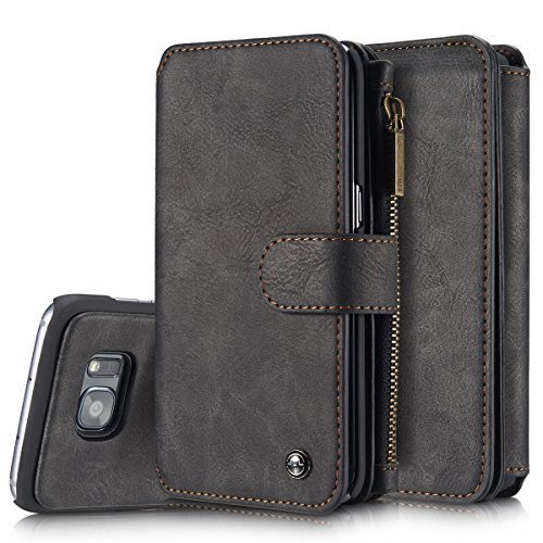 Price comparison product image Roreikes Multifunctional Wallet Case 2-in-1 Detachable Leather Phone Case with Credit Card Slots Wallet Stand Flip Case Cover for Samsung Galaxy S7 Edge - Black