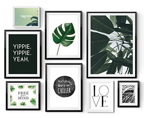 GREEN LOVER 8er Poster Set in verschiedenen Größen! 10x15, 13x18, A4 und A3. Wanddeko von MARELLE. Beste Poster, Wandbild, Spruchbilder, botanic, Geschenk, Gallery Wall, Komplett Set 2587