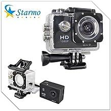 Starmo - Cámara de acción, HD 1080P, WiFi, impermeable, lente gran angular, HDMI, USB, con accesorios, fijación a casco, negro