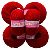#10: M.G Acrylic Knitting Wool, Pack of 6 (Deep Red) Baby Soft Wool Ball Hand knitting wool/Art Craft soft fingering crochet hook yarn, needle knitting yarn thread dyed