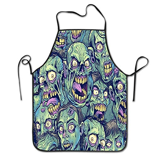 Zombie Kostüm Hausfrau - HTETRERW Durable Polyester Apron - Novelty Unisex Green Zombie Waist Bib, Oil Resistant and Washable Apron, Convenient Dog Grooming/Cleaning Fish Anti-Stain Bib Apron