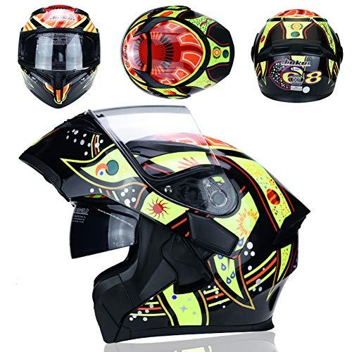 MJTK Unisex Motorradhelm, Motocross Motorradhelm, Doppelscheibe Anti-Kollision Motorradhelm, Roller Reiten Voller Helm (55-61Cm),C,XL
