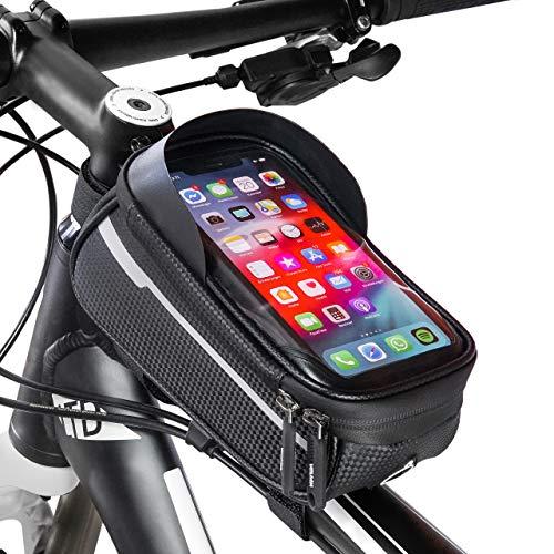 Velmia Rahmentasche Fahrrad [2020er Version] Handyhalterung Ohne Touch ID für Smartphones