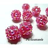 Apprêt 20 perles shambala rose grenat 10 par 12mm