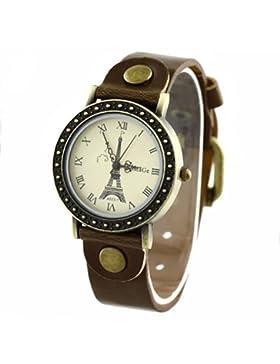 Eiffelturm-Zifferblatt Dame Uhr Stilvolle Armbanduhr Damenuhr Braun