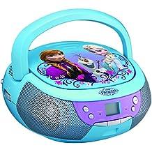 ekids fr de 430Disney Frozen Reproductor de CD con micrófono para niños portátil Anna y Elsa Azul