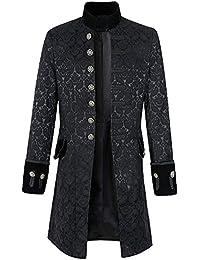 Bonboho Homme Manteau Long Steampunk Gothique Vintage Rétro Punk  Décontracté Lâche Couleur Unie Veste Costume Double 7f046667c14a