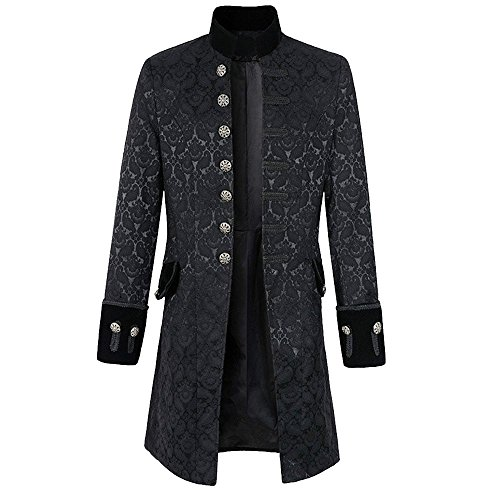 Bonboho Herren Gothic Mantel Blumen Drucken Viktorianische Einfarbig Vintage Cosplay Uniform Piraten Steampunk Jacke Retro Mittellang Männer Mantel