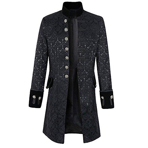 Rera Herren Frack Steampunk Jacke Männer Gothic Smoking Coat mit Stehkragen Vintage Uniform Kostüm Viktorianisch Mittellang ()