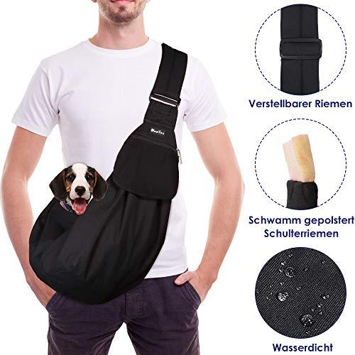 SlowTon Tragetuch Hund, Katze Haustier Hand Schleuderträger Schultertasche Verstellbare Gepolsterte Schultergurt mit Fronttasche hundetragebeutel Metro Outdoor (Schwarz - wasserdicht)