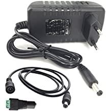 Eleidgs 80-240V AC / DC 12V 3A 36W Adaptador Convertidor Cargador de Fuente de Alimentación Enchufe de la UE para Tiras LED + DC Macho Conector + 1m/3,3ft DC Cable de Extensión