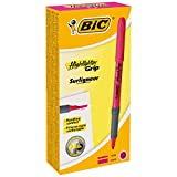 BIC Highlighter Grip Surligneurs Pointe Biseautée - Rose, Boîte de 12