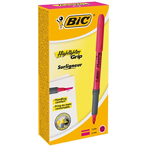 BIC Highlighter Grip Marcadores punta biselada Ajustable - Rosa, Caja de 12 unidades