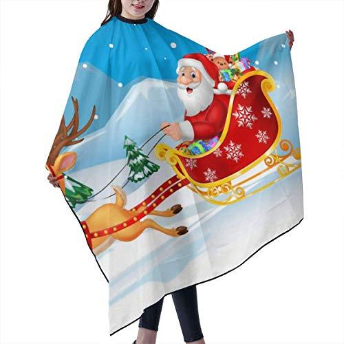 ech-Haar-Hausmantel-Umhang, Professional Barber Supplies Christmas Santa Claus Cape Cover Cloak Hair Dyed Hair Anti-Static Hairdressing ()
