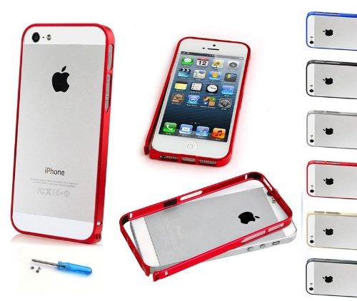 iPhone 5 / 5S Ultra-Slim Hülle schwarz Aluminium--rot