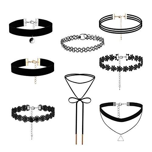 Cupimatch 8pcs Damen Choker Halskette Set, Leder Stretch samt schwarz einstellbar Tattoo Spitze Kragen Halsband mit Anhänger, Gotik Punk Rock Lederband (Punk-rock-tattoo)