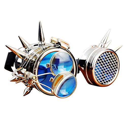 Kostüm Dream Für Steam Erwachsene - Sakuldes Steampunk-Brille, handgefertigter viktorianischer Stil, doppelte Augenlupe (Color : Blue)