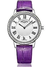 Rotary - Reloj de cuarzo para mujer, correa de cuero, color morado